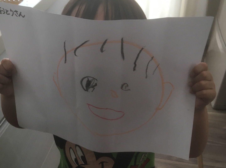 子供が似顔絵を描いてくれた。